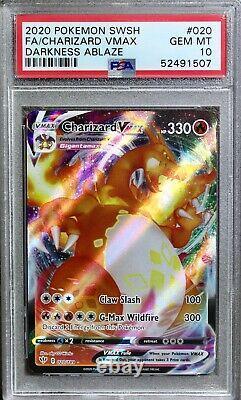 Psa 10 Pokemon 2020 Darkness Ablaze Holo Rare Full Art Charizard Vmax 020/189 20