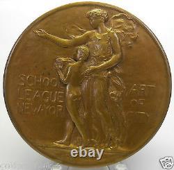 Rare 1920 School Art League Of New York City, Médaille Du Mérite, Gorham Co