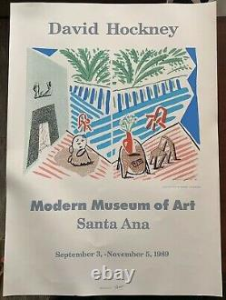 Rare David Hockney 1989 Exposition Art Poster Living Room & Terrace -santa Ana