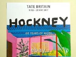 Rare David Hockney Lithographie Imprimer 60 Ans De Travail Tate Museum Exhbt Poster