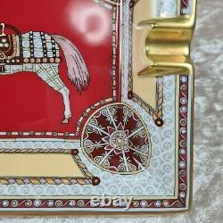 Rare Hermes Paris Cigare Ashtray Porcelain Horse Art Design Made In France (nouveau)