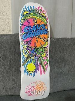 Rare Santa Cruz Claus Grabke Reissue Skateboard Deck Exploding Clock Blanc Nos