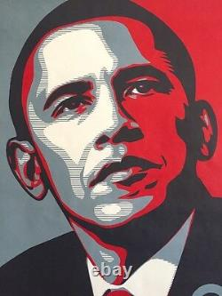 Rare Shepard Fairey Obama Hope 2008 Dnc Campagne Original Litho Imprimer Affiche