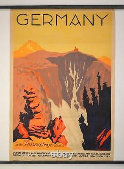 Rare Vintage Original Deutschland (montagnes Giantes), 1929 Allemagne Affiche De Voyage