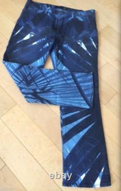 Roberto Cavalli Stretch Optic Art Palm Boot Cut Blue Jeans! Flare 33/47m Rare Des T.n.-o.