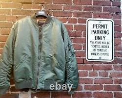 Schott Nyc Rare Style 9628 Ma-1 Nylon Usa-flight Jacket Sage Size Grand New-tags