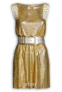 Versace H&m Rare Gold Chain Party Mini Slip Shift Robe Uk 8 Eu 34 Xs Bnwt